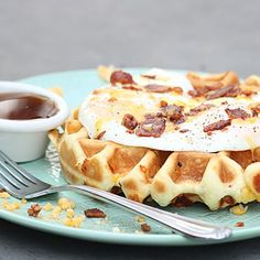 Waffles filled with crisp bacon, freshly grated sharp cheddar cheese, topped…