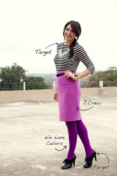 purple pencil skirt, purple tights, black shoes, striped top.  Maybe not the purple tights, but I like the striped top with the pencil skirt.