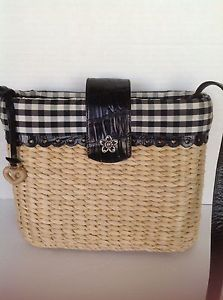 Brighton Bag Straw Designer Fashion Checkered Black White Hip Spring Summer | eBay
