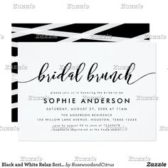 Black and White Relax Script Bridal Brunch Invitation Brunch Invitations, Rehearsal Dinner Invitations, Wedding Rehearsal, Rehearsal Dinners, Zazzle Invitations, Simple Bridal Shower, Calligraphy Lines, Colored Envelopes, Envelope Liners