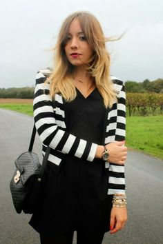 Black and white stripped jacket...Beetlejuice chic.