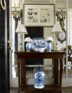 Blue and White Chinese Porcelain Greets Guests in the Lovely Upper East Side Apartment Designed by Interior Designer Cathy Kincaid and Architect John B. Murray Featured in the January/February 2016 Issue of Veranda