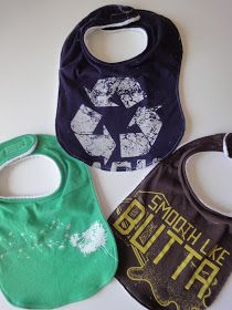 Bib pattern to use with upcycled t-shirts or even toddler button-downs. Seriously cute guft idea! From A Little Tipsy: Baby Week: Shirt Bib