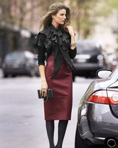 Long Leather Skirt: A Classy Look! Photo Credit: Leather Fashion Fashionista on Flickr -  https://www.flickr.com/photos/67575879@N03/