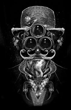 """To create some eerie portraits that look like they are from another world, digital artist Nicolas Obery adorns his characters with combinations of harsh metal parts and gas masks contrasted with flowing flora from trees and flowers. Although they are all in black and white brush stroke style, each character is unique and intriguing. Obery, who works as an art director and graphic designer for an advertising agency in Paris, calls this fascinating digital series """"Fantasmagorik."""""""