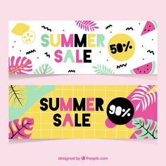 Colorful summer sale banners Free Vector