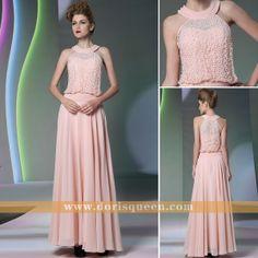 pink halter long prom dresses 2014, elegant bridesmaid dresses 2014, formal dresses 2014