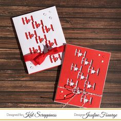 Christmas Card with die cut pattern made from Kat Scrappiness sentiment dies.