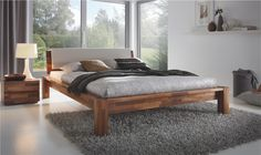 Solid Wood Beds | Hasena Ciliano - Varus Solid Walnut Wooden Bed - Head2Bed UK