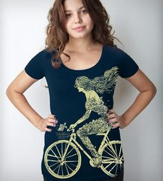 Women's Mermaid Bike T-Shirt by Clockwork Gears on Scoutmob Shoppe