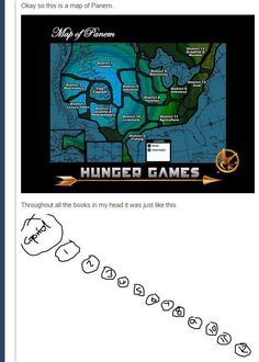 cool-Hunger-Games-map-Panem I totally wondered where all the other districts were! The Hunger Games, Hunger Games Catching Fire, Hunger Games Trilogy, Book Fandoms, Stowa, Just For Laughs, In Kindergarten, That Way, Laugh Out Loud
