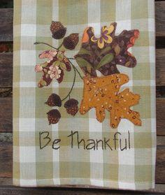 Applique Towels, Wool Applique, Applique Patterns, Applique Designs, Dish Towels, Tea Towels, Hand Towels, Autumn Leaves, Autumn Fall