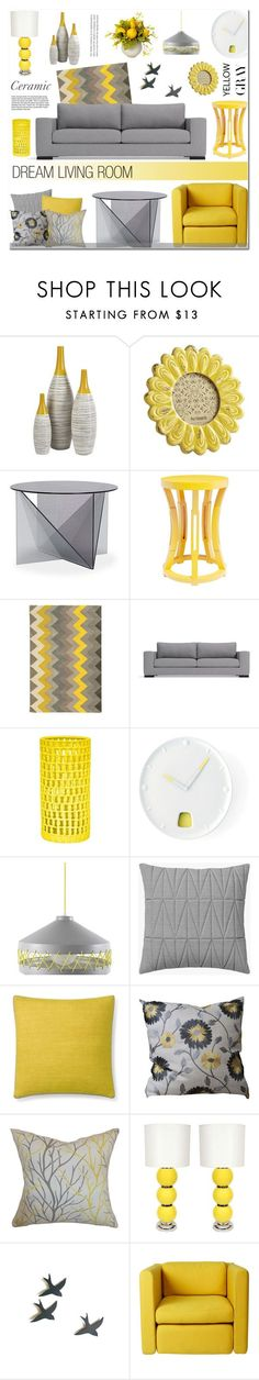 """Gray & Yellow - Ceramic"" by anyasdesigns on Polyvore featuring interior, interiors, interior design, maison, home decor, interior decorating, Dot & Bo, Pier 1 Imports, Tom Dixon et Bungalow 5"