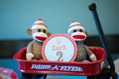 sock monkey theme second birthday party monkey toys in radio flyer wagon