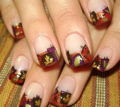 Autumn patchwork nail art/design