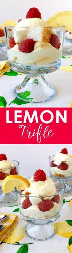 This delicious lemon trifle recipe is a simple layered dessert you can whip up in no time! Impress your lemon lover friends with a easy to make treat made with layers of pound cake, raspberries and a lemon filling mixture of yogurt, whipped cream and pudding. An easy party recipe idea! #lemon #dessert #recipe #fruit #easyrecipes #partyfood #trifle