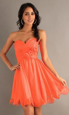 A Line Short Chiffon Coral Bridesmaid Dress Strapless Empire (5 Colors Available)