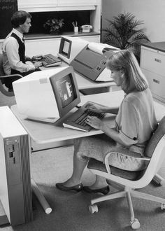The Evolution of Women's Workwearc. 1982  A woman uses a personal computer at the NCR research and development facility in West Columbia, South Carolina.