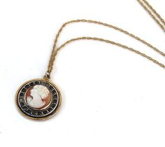 Vintage Art Deco Cameo Necklace Carved Shell Circle Pendant Rhinestones Gold Filled Chain Signed P & K