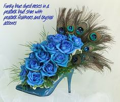 Blue peacock shoe