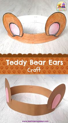 Teddy Bear Ears Craft - Tea Time Monkeys - Get your little ones dressed up for . - Teddy Bear Ears Craft – Tea Time Monkeys – Get your little ones dressed up for a teddy bear' - Bear Activities Preschool, Preschool Crafts, Toddler Crafts, Summer Activities, Bear Theme Preschool, Diy Crafts, Preschool Printables, Teddy Bear Crafts, Teddy Bear Day