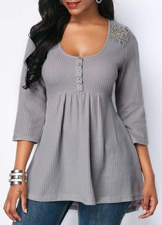 Lace Patchwork Button Detail Scoop Neck Blouse - Trend Way Dress Stylish Tops For Girls, Trendy Tops For Women, Blouses For Women, Mode Outfits, Casual Outfits, Fashion Outfits, Womens Fashion, Fashion Blouses, Blouse Styles