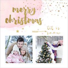 Hip enkele foto kerstkaart met watercolor, confetti, pijltjes, foto collage met ruimte voor twee eigen foto's of andere leuke invulling! Met lieve zacht roze en okergeel accent.