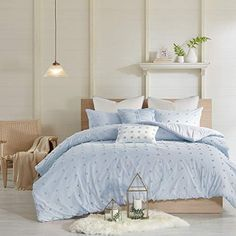 Urban Habitat Brooklyn Comforter Set Full/Queen Size - Ivory, Tufted Cotton Chenille Dots – 7 Piece Bed Sets – Cotton Jacquard Teen Bedding for Girls Blue Comforter Sets, Twin Xl Comforter, Cotton Bedding Sets, Duvet Sets, Duvet Cover Sets, Light Blue Bedding, King Duvet, Teen Bedding, Blue Duvet