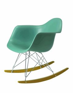 Remarkable green rocking-chair with creative wire frame Eames Rocker, Eames Rocking Chair, Eames Chairs, Lounge Chairs, Upholstered Chairs, Swivel Chair, Chair Cushions, Black Dining Room Chairs, Living Room Chairs