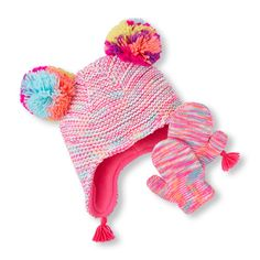 fa91aad3c3b Toddler Girls Neon Marled Pom Pom Hat And Mittens Set