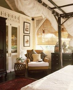 Nice elements: Love the zebra print! And I will admit, I have always wanted a canopy bed, but one that isn't so frilly