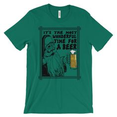 It's the Most Wonderful Time for a Beer Unisex Christmas T-Shirt  This super-soft, baby-knit t-shirt looks great on both men and women – it fits like a well-loved favorite. Made from 100% cotton, except for heather colors, which contain polyester.  • 100% ring-spun cotton (heather colors contain polyester) • Baby-knit jersey • Shoulder-to-shoulder taping • Cover stitched and hemmed sleeves • Side-seamed