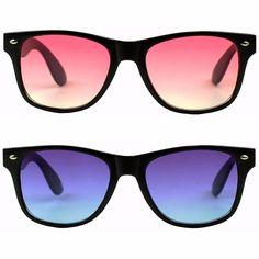0064d12ea3 2 Pairs of Womens Classic Wayfarer Ocean Round Retro 80s Pink Purple  Sunglasses  Round Popular