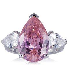 Diamonique 7.25ct tw Pear Cut 3 Stone Ring Sterling Silver