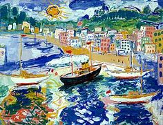 Fikret Mualla - Cannes at Istanbul Museum of Modern Art World Painter, Painter Artist, Artist Art, Sculpture Painting, Painting & Drawing, Gouache, Expressionist Artists, Expressionism, Turkish Art