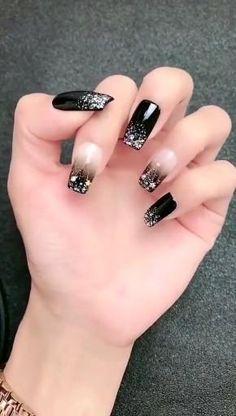 Nail Art Designs Videos, Simple Nail Art Designs, Acrylic Nail Designs, White Acrylic Nails, Best Acrylic Nails, Art Deco Nails, Goth Nails, Nail Designer, Latest Nail Art