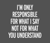 I am only responsible for what I say...