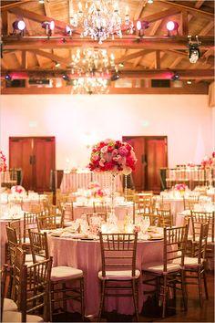 pink rose and crystal gold reception decor @weddingchicks