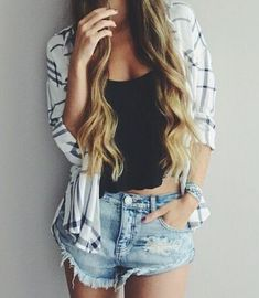 #street #style denim shorts + plaid @wachabuy