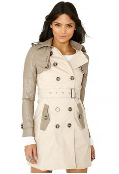 Missguided - Aicha Contrast Faux Leather Sleeve Coat In Beige