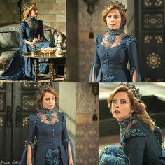 muhtesem yuzyil kosem, magnificent century kosem, humasha sultan, blue dress, beading