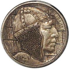 GEDIMINAS PALSIS HOBO NICKEL - BEARDLESS KNIGHT - 1925 BUFFALO PROFILE Hobo Nickel, Paper Cutting, Buffalo, Classic Style, Knight, Coins, Carving, Profile, Personalized Items