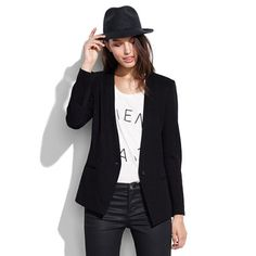 Madewell - Modern Blazer, white written tee, black leather pants and black wool wide brim fedora