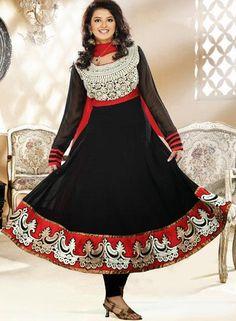 $161 Black Faux Georgette Thread Work Anarkali Style Salwar Kameez 25302