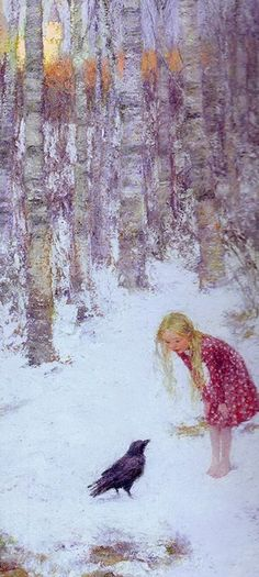 Gerda in The Snow Queen - asking the raven for directions