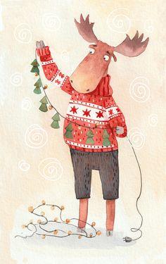 Illustration Inspiration, Illustration Noel, Winter Illustration, Illustrations, Christmas Illustration Design, Christmas Mood, Noel Christmas, Christmas Design, Christmas Crafts