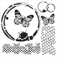 The Crafters Workshop 6 x 6 Stencil - Butterfly Collage