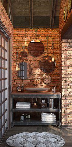 Kitchen in private house on Behance Rustic Bathroom Designs, Bathroom Interior Design, Brick Interior, Interior And Exterior, Home Room Design, House Design, Brick Room, Washbasin Design, Brick And Stone
