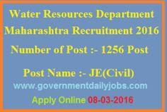 MAHARASHTRA GOVT RECRUITMENT 2016 APPLY ONLINE FOR 1256 JR ENGINEER POSTS ~ Government Daily Jobs