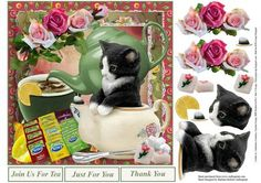 Morning Tea Sharing Topper with Decoupage on Craftsuprint designed by Barbara Hiebert - This is a tea themed card topper with the cat and roses, and lemon and sugar cubes just to add different layersThe sentiment tags say,Join Us For TeaJust For YouThank You  - Now available for download!